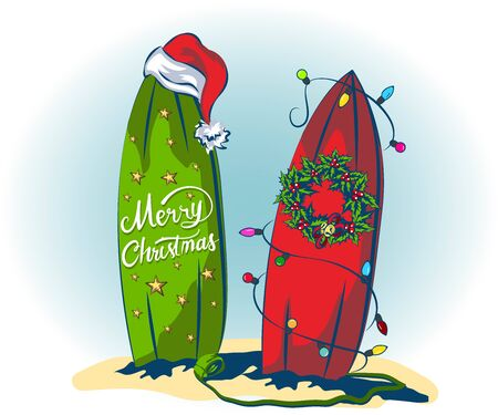 decar surfboards for christmas and new year, decarings from light garlands and holly woven wreath for christmas, tropical beach on vacation