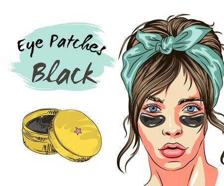 Frau mit Augenklappe. Schönheitsbehandlung. Hautpflege-Routine. Schönes Gesicht der jungen Frau mit weißem Tuch auf ihrem Kopf. Mode-Frau-Skizze. Spa-Beauty-Konzept Vektorgrafik