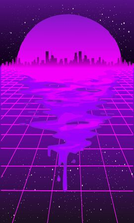 Retro 80s wave space, 1980s retro futuristic style background, digital landscape in the cyber world. For use as a cover for a music album. Suitable for any 80s style print design.