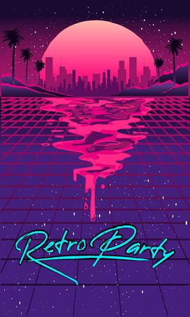 Retro future of the 80s. 1980s retro futuristic background style. Road to the city at sunset in the style of the 1980s. Digital retro cityscape sci-fi summer landscape. Suitable for any 80s style print design.
