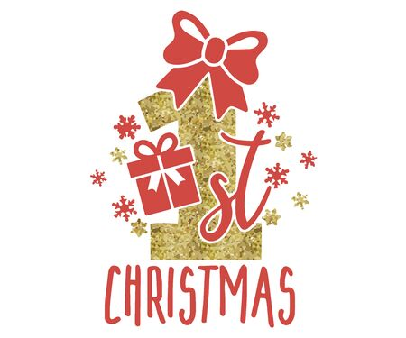 My first Christmas Pack. Hand drawn lettering for Xmas greetings cards, Vector illustration isolated on white background for Tshirt designs, baby prints and decoration.