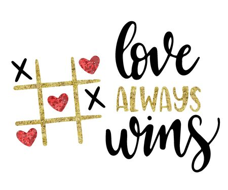 Love is always an inscription on a postcard. Valentines day greeting card with handwritten greeting letters and decorative textured brush strokes gold.