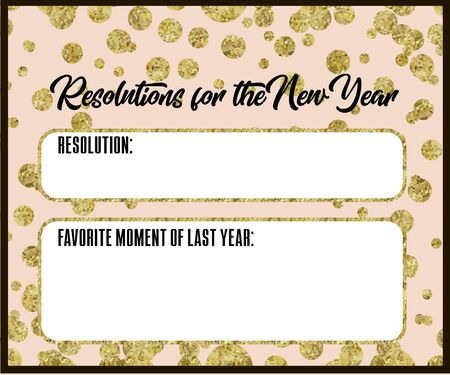 New Years Resolutions of zoryvny color with gold sweets, New Years cards souvenirs for wishes,. Wish list, New Years promises, to-do list, purchase. Ilustrace