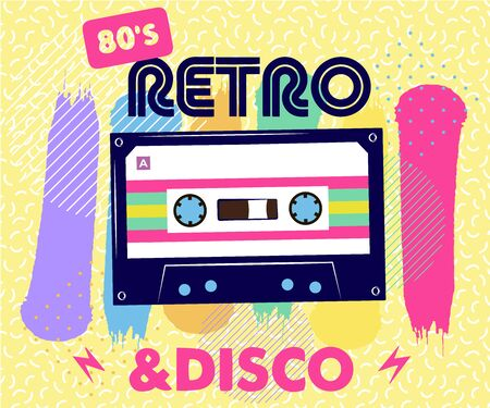 Retro party poster. Music of the nineties, vintage cassette tape and 90s style. invitation card dancing party time advertisement poster background illustration, Vector illustration in trendy 80-90s style