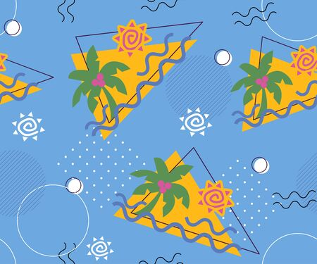 Memphis seamless patterns with geometric, mesh, fashion 80-90s. Hand drawn tropical illustration pattern, triangle with palm tree and stylized sun, striped and other elements for fashion, wallpaper,