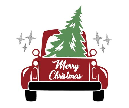 Christmas cards with gold, design for a Merry Christmas pickup truck, Christmas greeting card. Vintage pickup, truck with Christmas tree. Vector illustration. Ilustrace