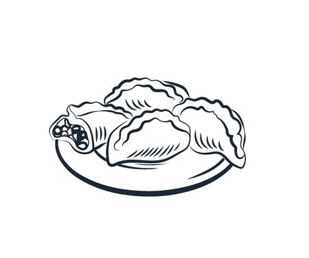 Traditional Russian pie with filling. Vector illustration poster food