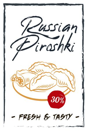 Russian pie colorful illustration. Vector illustration of Russian cuisine. Russian cuisine restaurant menu, black board poster with Russian pyroshki.