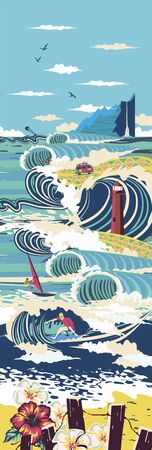 Tiny adults adults go surfing, windsurfing and kitesurfing. Summer beach activities, marine activities, concept of marine animation services. Bright vertical drawn poster, flyer, poster.