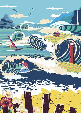 Tiny adults adults go surfing, windsurfing and kitesurfing. Summer beach activities, marine activities, concept of marine animation services.  poster, flyer, poster. Ilustrace