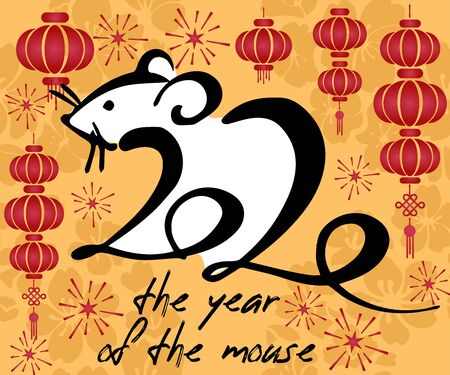 2020 chinese new year of the rat year, red and gold line rat character, simple hand drawn asian elements with craft style on background, happy lunar new year of the rat