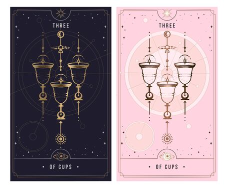 three of cups. Minor Arcana secret card, black with gold and silver card, pink with gold, illustration with mystical symbols.Isolated vector illustration on a white background.