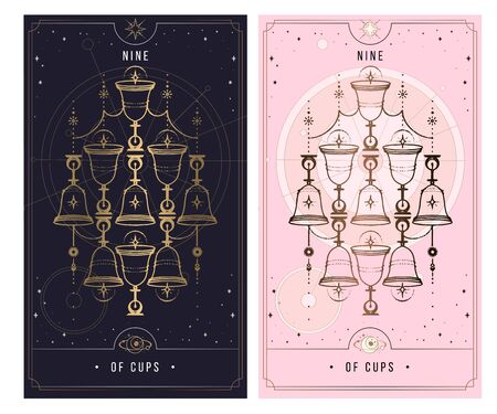 nine of cups. Minor Arcana secret card, black with gold and silver card, pink with gold, illustration with mystical symbols. Isolated vector illustration on a white background. Ilustrace
