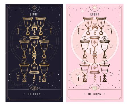 eight of cups. Minor Arcana secret card, black with gold and silver card, pink with gold, illustration with mystical symbols. Isolated vector illustration on a white background.