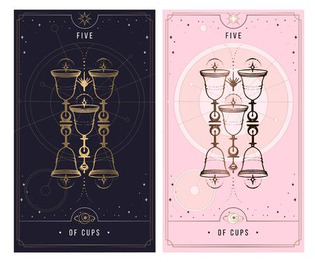 five of cups. Minor Arcana secret card, black with gold and silver card, pink with gold, illustration with mystical symbols. Isolated vector illustration on a white background.