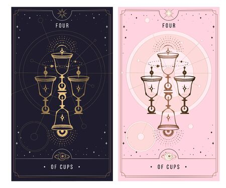 four of cups. Minor Arcana secret card, black with gold and silver card, pink with gold, illustration with mystical symbols. Isolated vector illustration on a white background.