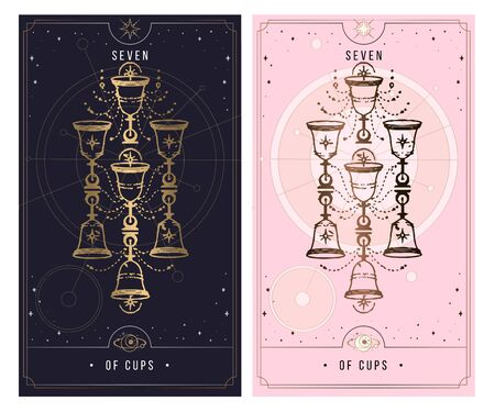 seven of cups. Minor Arcana secret card, black with gold and silver card, pink with gold, illustration with mystical symbols. Isolated vector illustration on a white background.