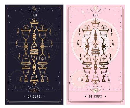 ten of cups. Minor Arcana secret card, black with gold and silver card, pink with gold, illustration with mystical symbols. Isolated vector illustration on a white background. Ilustrace