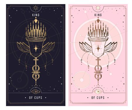 Carol of cups. Minor Arcana secret card, black with gold and silver card, pink with gold, illustration with mystical symbols. Isolated vector illustration on a white background.
