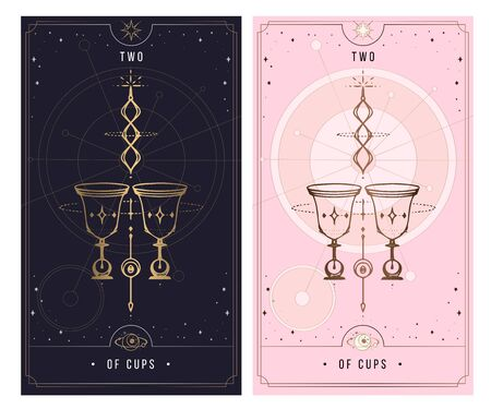 two of cups. Minor Arcana secret card, black with gold and silver card, pink with gold, illustration with mystical symbols. Isolated vector illustration on a white background.