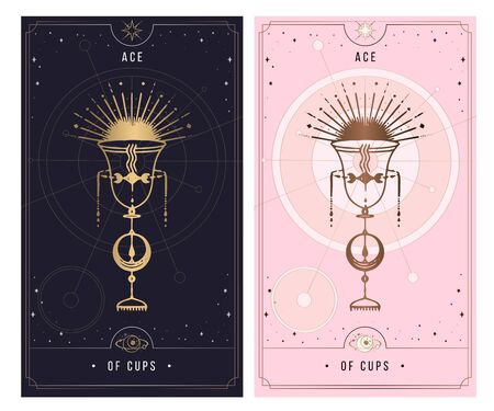 Tarot card back side. Minor Arcana secret card, black with gold and silver card, pink with gold, illustration with mystical symbols. Isolated vector illustration on a white background.