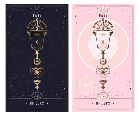 Page of cups. Minor Arcana secret card, black with gold and silver card, pink with gold, illustration with mystical symbols. Isolated vector illustration on a white background.