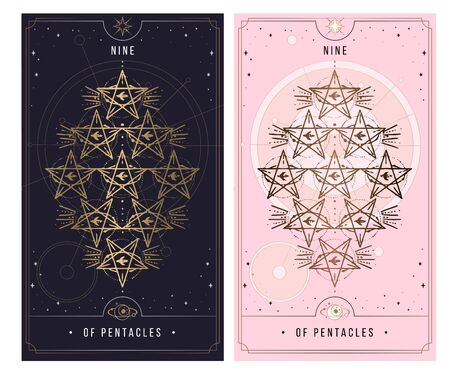 nine of the pentacle. Minor Arcana secret card, black with gold and silver card, pink with gold, Tarot cards. Sign of the magic pentacle with inscriptions. Isolated vector illustration on a white background.