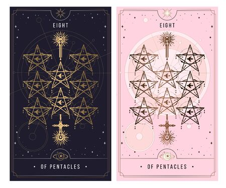 eight of the pentacle. Minor Arcana secret card, black with gold and silver card, pink with gold, Tarot cards. Sign of the magic pentacle with inscriptions. Isolated vector illustration on a white background.