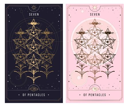 seven of the pentacle. Minor Arcana secret card, black with gold and silver card, pink with gold, Tarot cards. Sign of the magic pentacle with inscriptions. Isolated vector illustration on a white background. Ilustrace