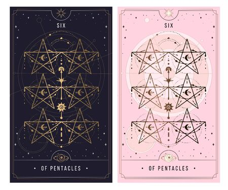 six of the pentacle. Minor Arcana secret card, black with gold and silver card, pink with gold, Tarot cards. Sign of the magic pentacle with inscriptions. Isolated vector illustration on a white background.