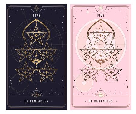 five of the pentacle. Minor Arcana secret card, black with gold and silver card, pink with gold, Tarot cards. Sign of the magic pentacle with inscriptions. Isolated vector illustration on a white background. Ilustrace