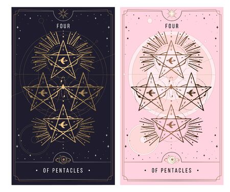 four of the pentacle. Minor Arcana secret card, black with gold and silver card, pink with gold, Tarot cards. Sign of the magic pentacle with inscriptions. Isolated vector illustration on a white background.