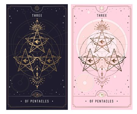 three of the pentacle. Minor Arcana secret card, black with gold and silver card, pink with gold, Tarot cards. Sign of the magic pentacle with inscriptions. Isolated vector illustration on a white background.