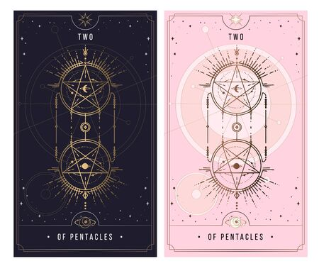 two of the pentacle. Minor Arcana secret card, black with gold and silver card, pink with gold, Tarot cards. Sign of the magic pentacle with inscriptions. Isolated vector illustration on a white background. Ilustrace