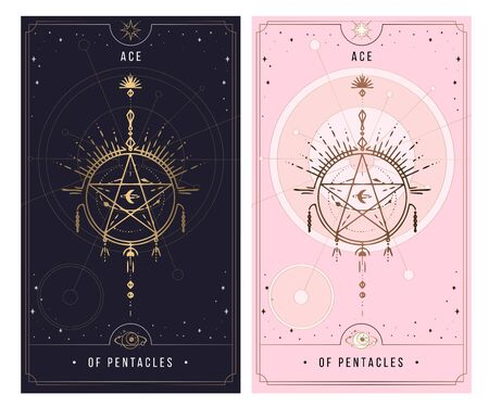 ace of the pentacle. Minor Arcana secret card, black with gold and silver card, pink with gold, Tarot cards. Sign of the magic pentacle with inscriptions. Isolated vector illustration on a white background.