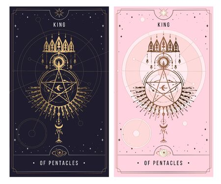King Of Pentacles . Minor Arcana secret card, black with gold and silver card, pink with gold, Tarot cards. Sign of the magic pentacle with inscriptions. Isolated vector illustration on a white backgro