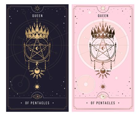 QUEEN OF PENTACLES. Minor Arcana secret card, black with gold and silver card, pink with gold, Tarot cards. Sign of the magic pentacle with inscriptions. Isolated vector illustration on a white backgro Ilustrace