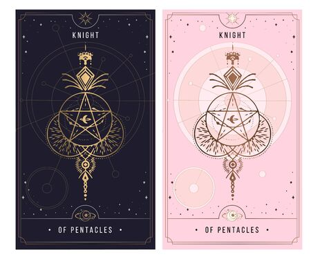 KNIGHT OF PENTACLES . Minor Arcana secret card, black with gold and silver card, pink with gold, Tarot cards. Sign of the magic pentacle with inscriptions. Isolated vector illustration on a white backgro Ilustrace