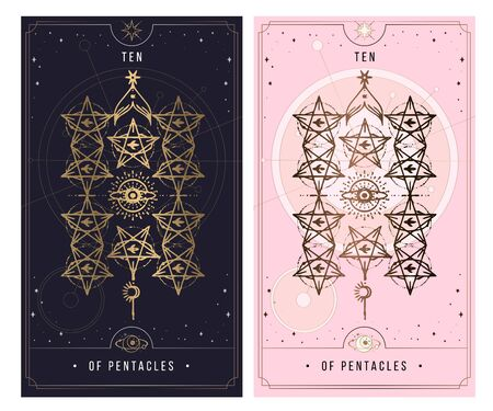 Ten Of Pentacles.  Minor Arcana secret card, black with gold and silver card, pink with gold, Tarot cards. Sign of the magic pentacle with inscriptions. Isolated vector illustration on a white backgro