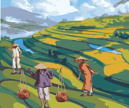 Illustration of farmers planting rice in the fields Vettoriali