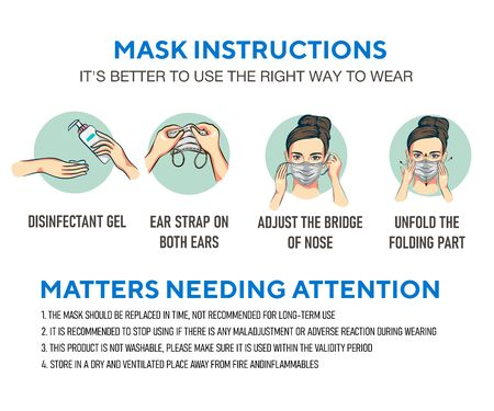 woman gag with worry gesture. Healthy of female wear protective mask against infectious diseases and flu. Stop the infection. Health care concept. Vector illustration isolated on white.