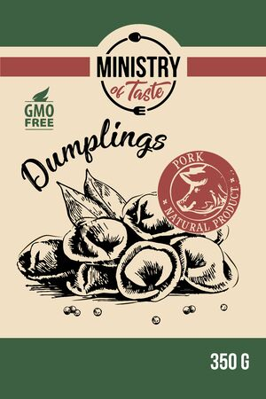 Vareniki. Dumplings. Dumplings. Food. Cooking. National dishes. Dough and meat products. Good food premium market, design, store, packaging, hand drawn vector collection.