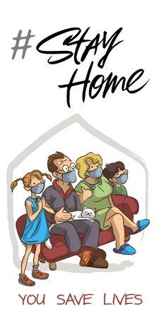 The family and the cat in the white medical mask to prevent the virus stay at home, the whole family isolates themselves on the couch, adult and elderly children stay at home in quarantine