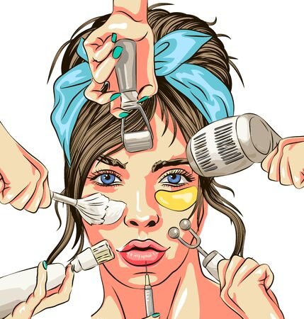 Microcurrents line. Dermal roller, cosmetologist tool, needles. Beauty care concept. vector illustration isolated can be used for topics like cosmetology, skin care, anti-aging therapy ,The concept of cosmetology and dermatology