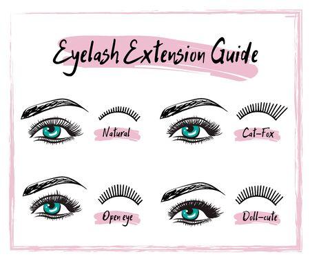 Différents types d'extensions de cils. Des styles pour le look le plus flatteur. Illustration vectorielle d'infographie. Modèle pour les procédures de maquillage et cosmétiques. Affiche de formation.