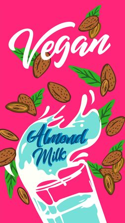 Plant-based vegan almonds based on milk Vegan milk is a healthy cow's alternative to lactose milk, an environmentally friendly product. Lactose free. no milk banner