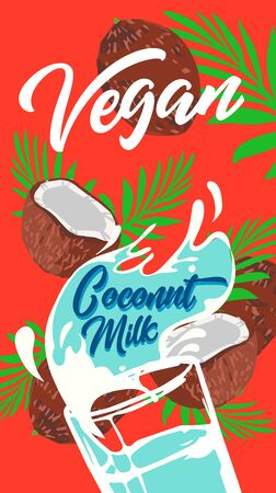 Plant-based vegan coconut milk is a healthy cow's alternative to lactose milk, an environmentally friendly product. Lactose free. banner ad