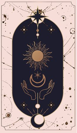 Moon, wave and hand gold , tarot reader of spiritual guidance. Colorful design. Vector illustration in magical vintage style. Gold decorative frame with the sun on a black background