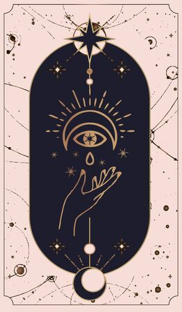 moon and sun tarot cards, Hands set in simple flat esoteric boho style. esoteric collection   with various symbols such as space star planet, gold and pink and pink cards