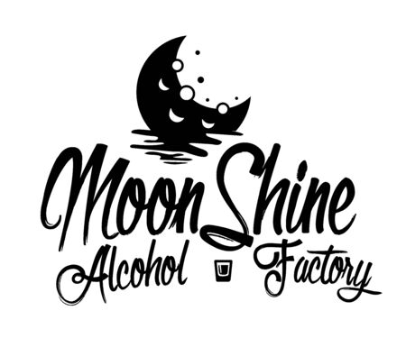 Vintage design of moonshine label with ethnic elements in the style of thin line, bourbon, moonshine and brandy. Black and white vintage label options. Monochrome, black on white. white on black